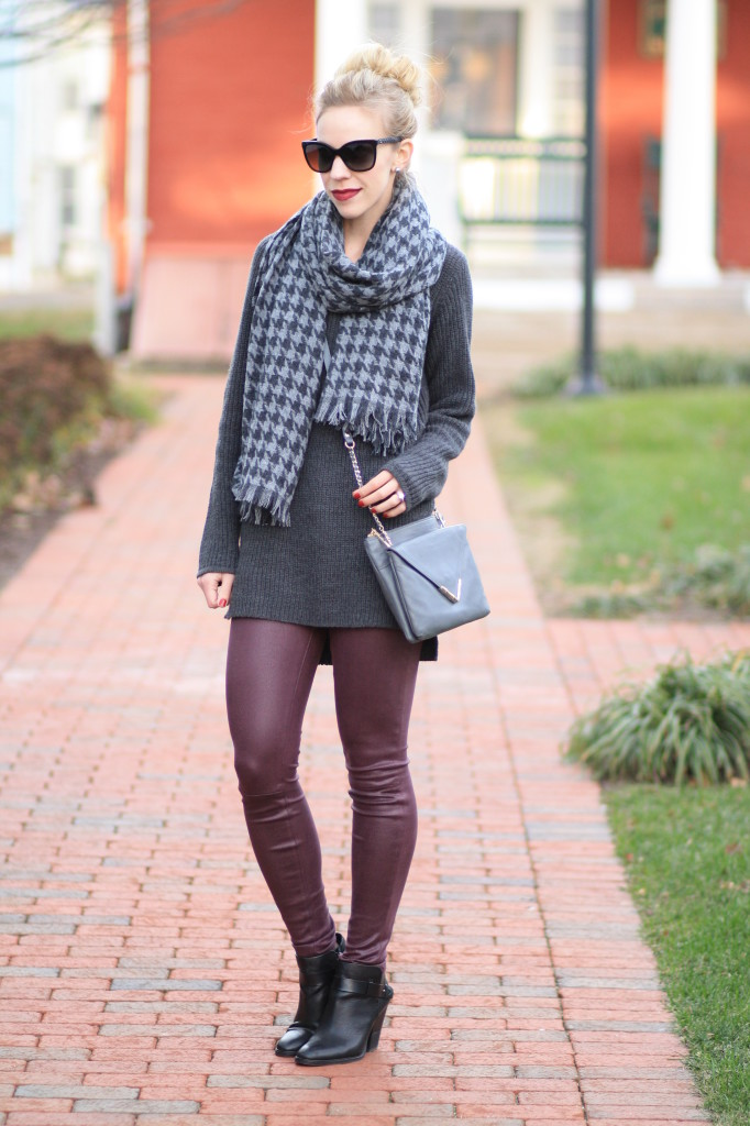 J. Crew gray houndstooth blanket scarf, oversized gray chunky knit sweater, burgundy leather pants, 7 for all mankind leather skinny denim, ankle boots, Elaine Turner gray Bailey envelope clutch crossbody, gray and plum outfit