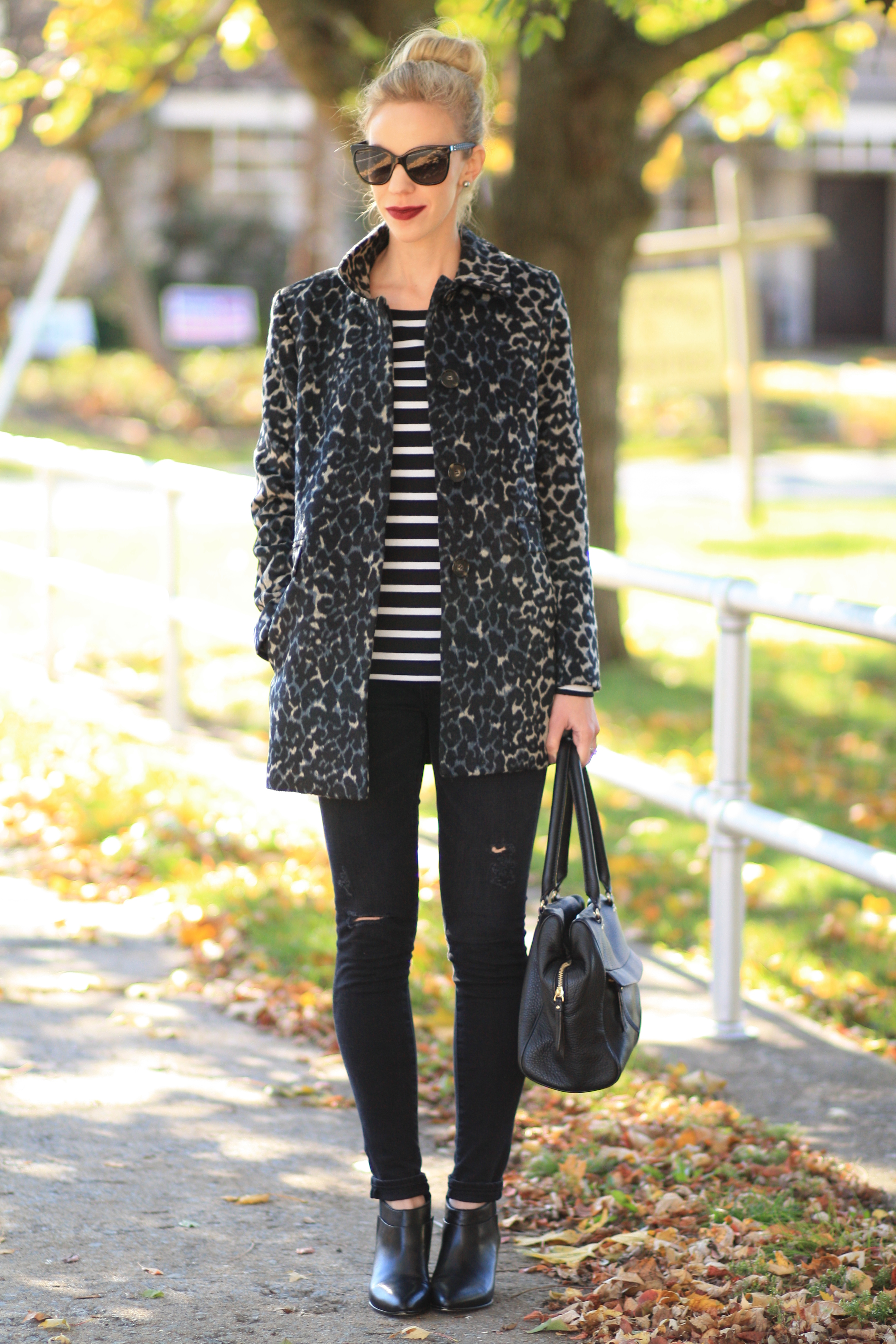 Edgy Leopard Car Coat Striped Tee Amp Distressed Black