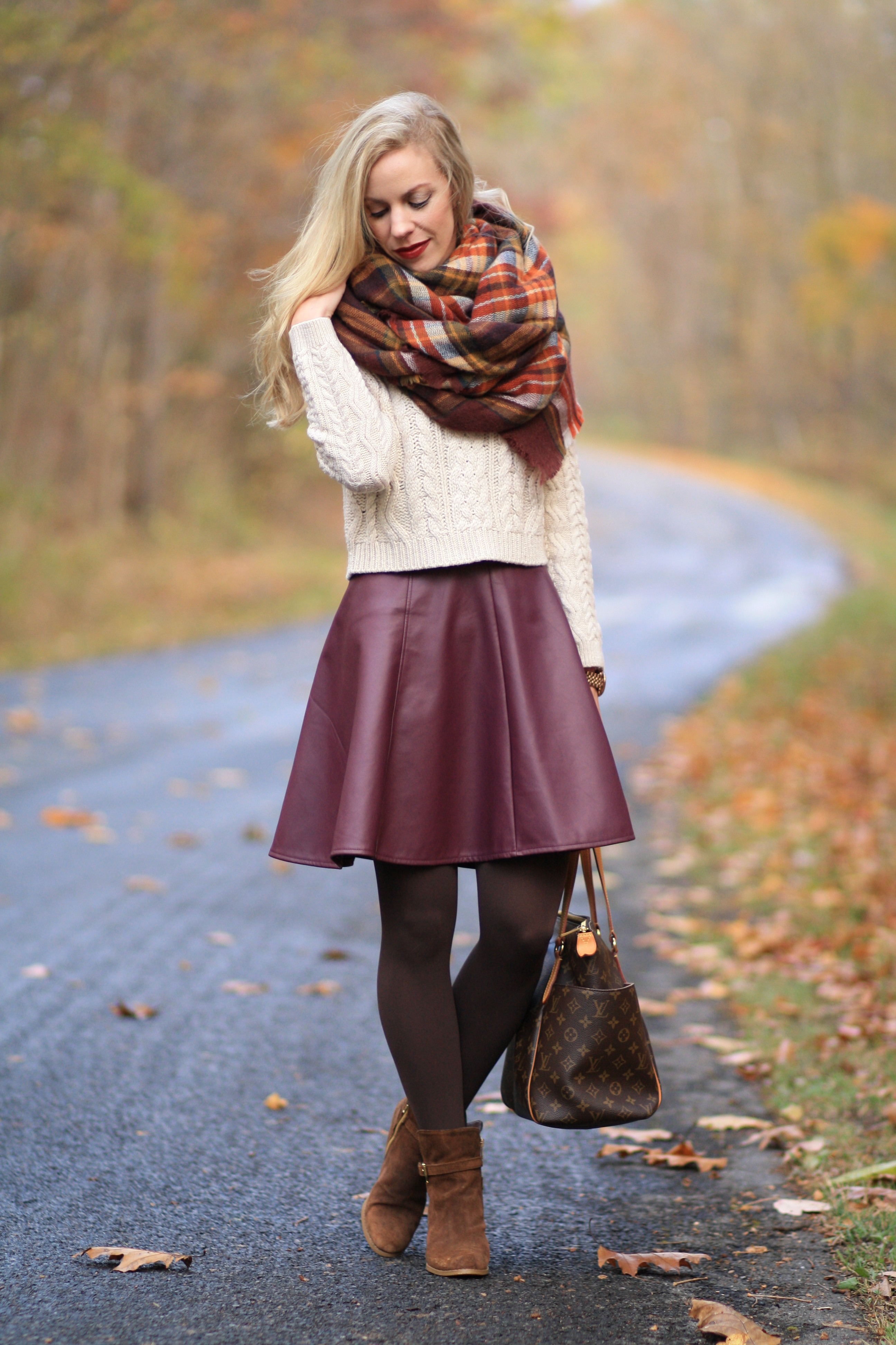 November Colors Cable Sweater Plaid Blanket Scarf