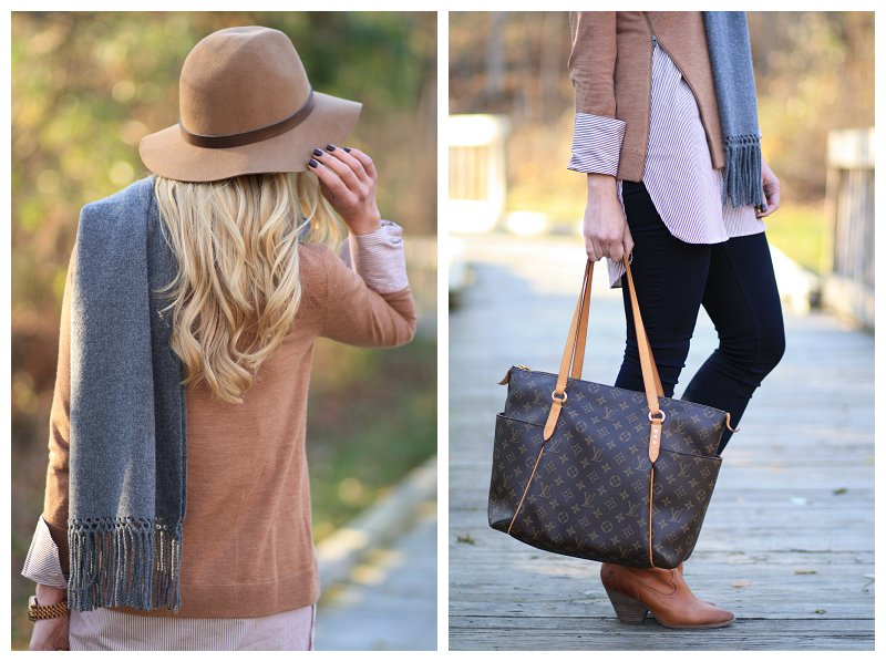 Louis Vuitton totally MM tote, camel panama hat, wool fedora, gray cashmere wrap, 7 for all mankind slim illusion skinny jeans, Louis Vuitton totally MM tote, Frye camel leather Reina ankle booties