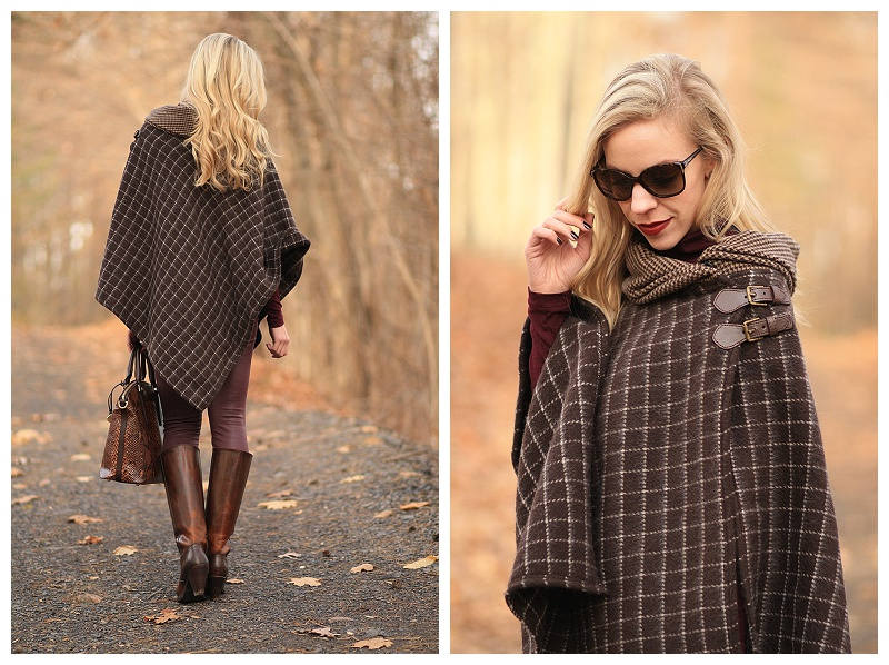 Buckle Up Plaid Poncho Burgundy Leather Amp Riding Boots