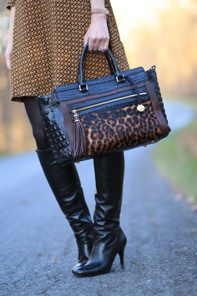 59dcf0975b7b Stuart Weitzman black leather knee high Park boots, Brahmin leopard print  Anna satchel, leopard calf hair handbag, H&M printed A-line swing hem dress