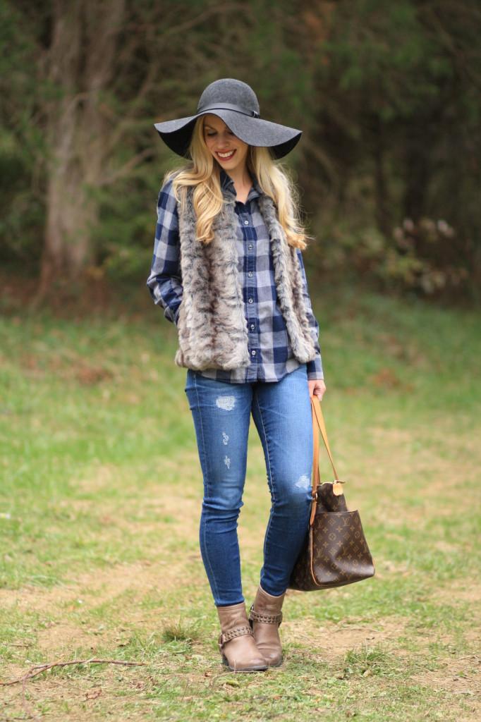 { Flannel u0026 Fur Buffalo plaid shirt Gray vest u0026 Distressed denim } - Meaganu0026#39;s Moda
