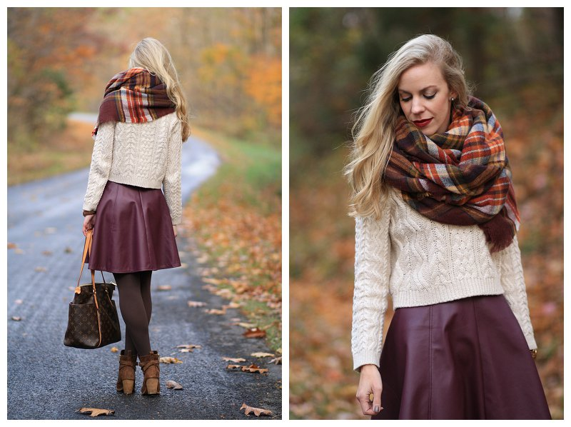 be8dfcc7cc75 ... best price burgundy leather skirt leather circle skirt beige cable  cropped sweater zara plaid blanket scarf