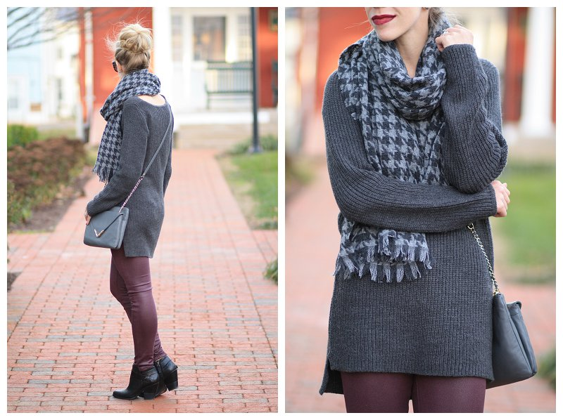 gray tunic sweater, burgundy leather pants, leather skinny jeans, J. Crew gray houndstooth scarf, Elaine Turner gray Bailey crossbody bag, Dolce Vita Haelyn black leather ankle boot, gray and plum outfit