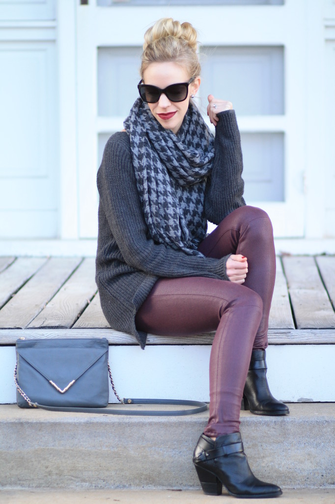 oversized dark gray tunic sweater, 7 for all mankind burgundy leather denim, J. Crew gray houndstooth oversized scarf, gray and burgundy outfit, black leather Dolce Vita ankle boots, Elaine Turner Bailey gray envelope clutch