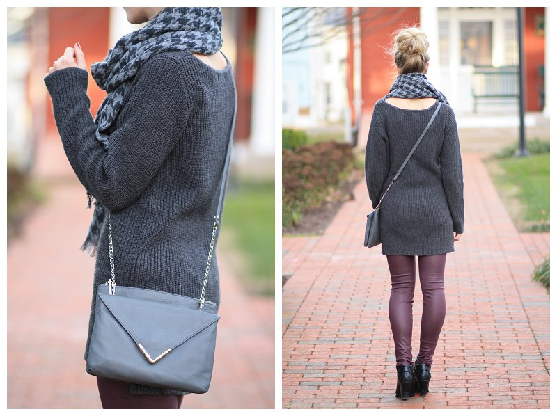 oversized gray tunic sweater, Elaine Turner gray leather Bailey crossbody bag, J. Crew gray houndstooth scarf, 7 for all mankind burgundy leather denim, gray and burgundy fall winter outfit