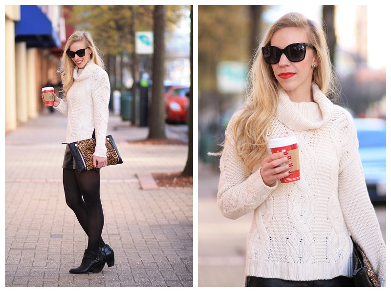 Winter White Cashmere Sweater Ann Taylor Cable Knit Cashmere