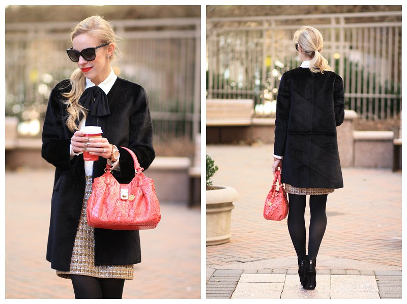 Ann Taylor black calf hair car coat, bow tie neck blouse, cream and black bow blouse, Chanel cateye sunglasses, holiday style, sophisticated holiday fashion, Brahmin mini elisa tulip melbourne pink satchel