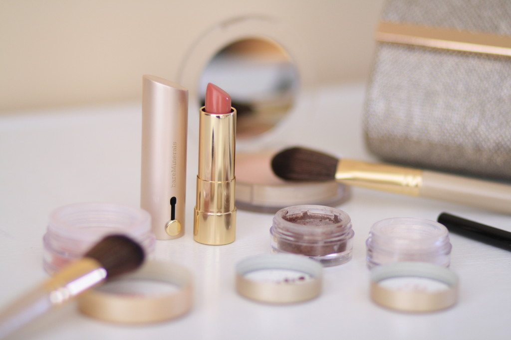 Bare Minerals 'Chandlight Glow' QVC holiday makeup collection, nude pink lipstick 'Dim the Lights'