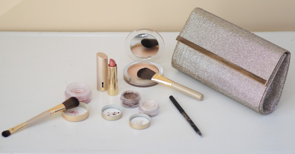 Bare Minerals QVC holiday 2014 makeup collection, gold clutch, nude pink lipstick, holiday makeup review, shimmer highlighter, rose blush