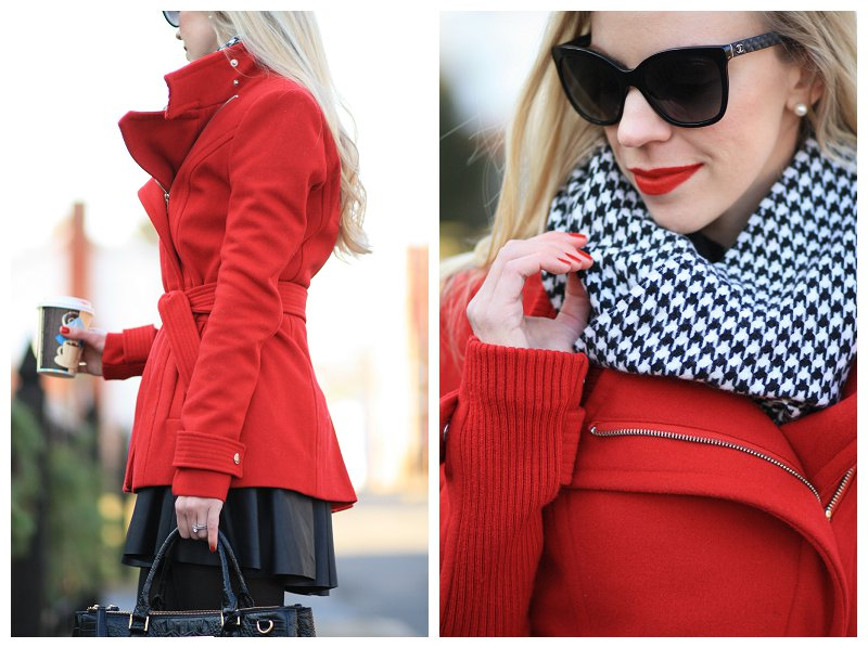Chanel black cateye sunglasses, black and white houndstooth scarf, Stila 'beso' red liquid lipstick, bright red wrap coat, faux leather skater skirt, winter outfit black white and red, holiday style