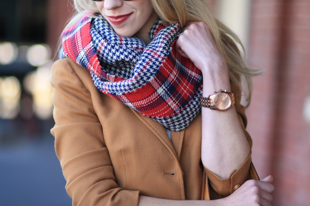 Clinique broadest berry chubby stick intense lipcolor, oversized red plaid reversible scarf, Michael Kors rose gold lexington watch, J. Crew camel schoolboy blazer, holiday plaid