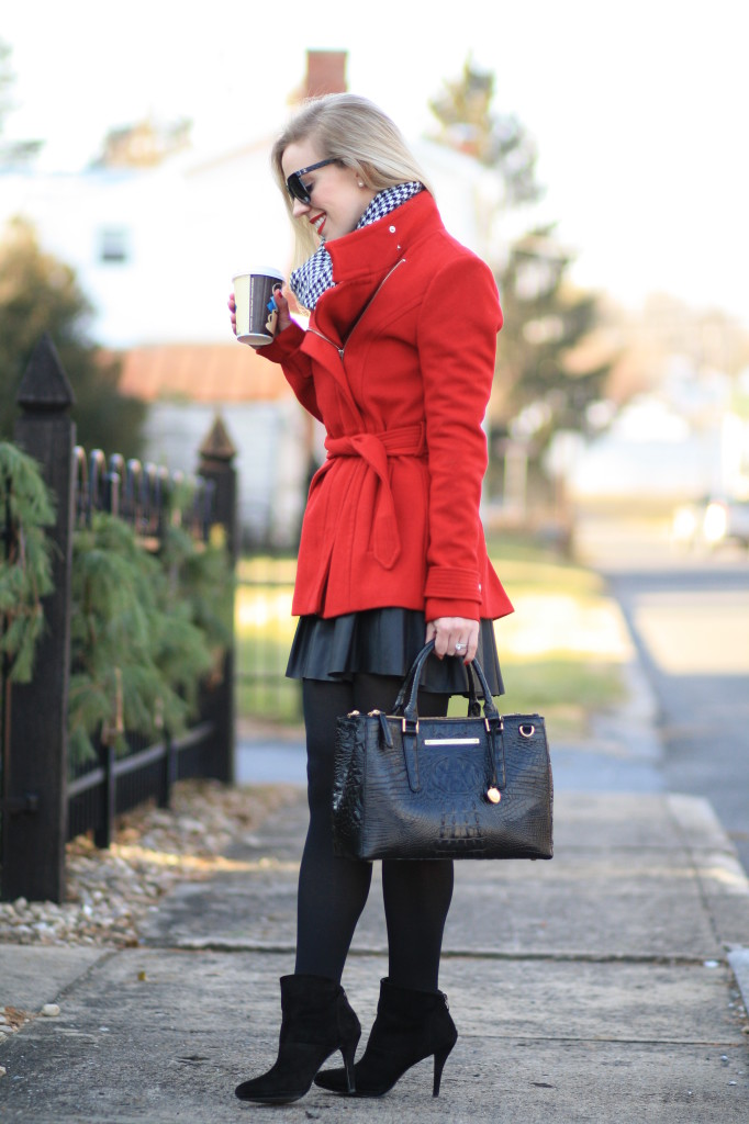 Poinsettia Red Wrap Coat Houndstooth Scarf Amp Leather