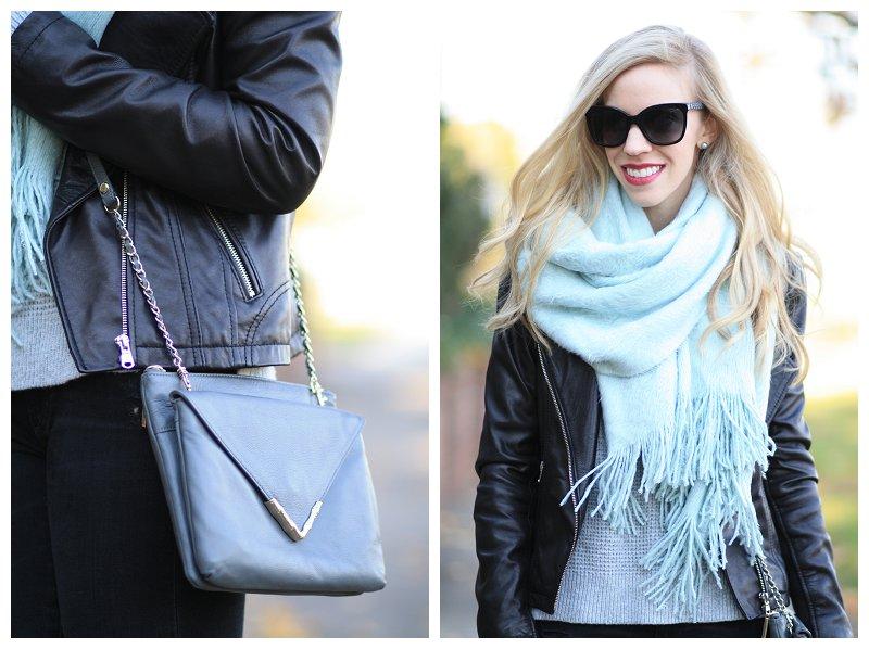 591d40f46c H&M oversized mint scarf, black leather moto jacket, Elaine Turner ...