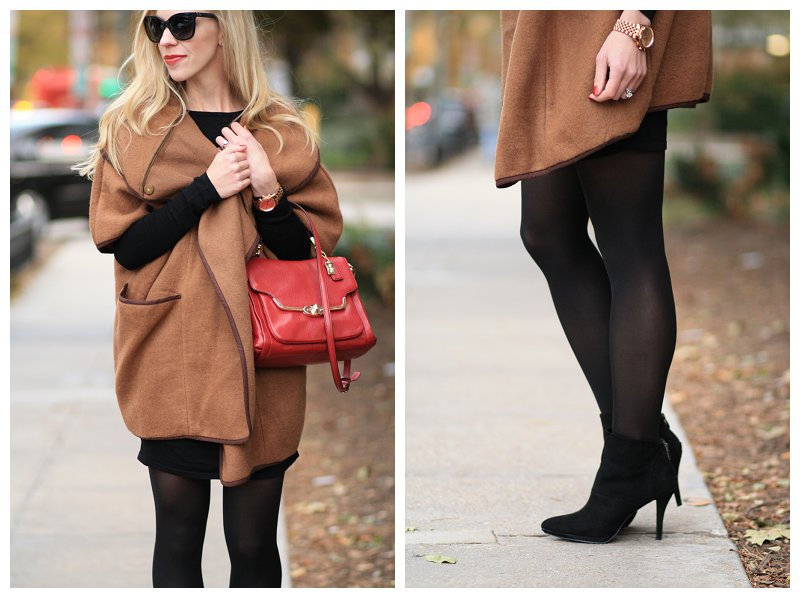 Wrapped Up Camel Cape Sweater Dress Amp Ankle Boots