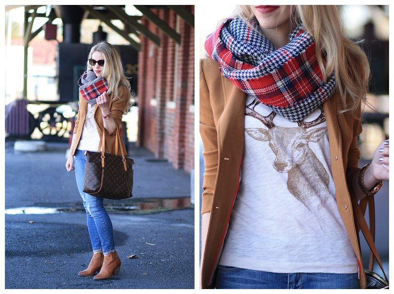 J. Crew holiday deer t shirt, oversized red plaid reversible scarf, J. Crew camel schoolboy blazer, Louis Vuitton totally MM tote, distressed denim, Frye Reina camel leather ankle booties, holiday outfit, holiday style