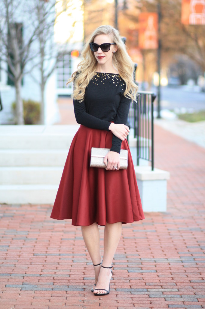 746e2603e5 LOFT sequin boatneck tee, burgundy midi skirt, holiday style, holiday party  outfit, Stuart Weitzman black leather Nudist sandals, sparkly gold clutch,  ...