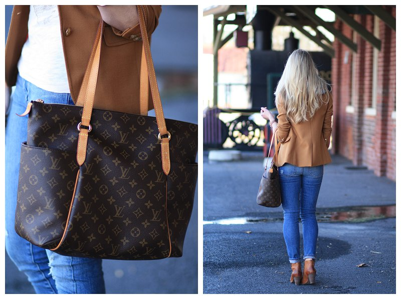 Louis Vuitton totally MM tote, camel blazer, Paige verdugo ankle denim, Frye Reina camel leather western ankle booties