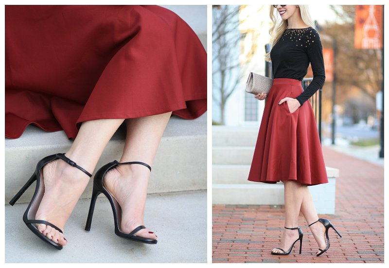 Stuart Weitzman black leather Nudist stiletto, ankle strap sandals, burgundy full midi skirt, sequin embellished tee, gold clutch, holiday outfit, holiday style, party look