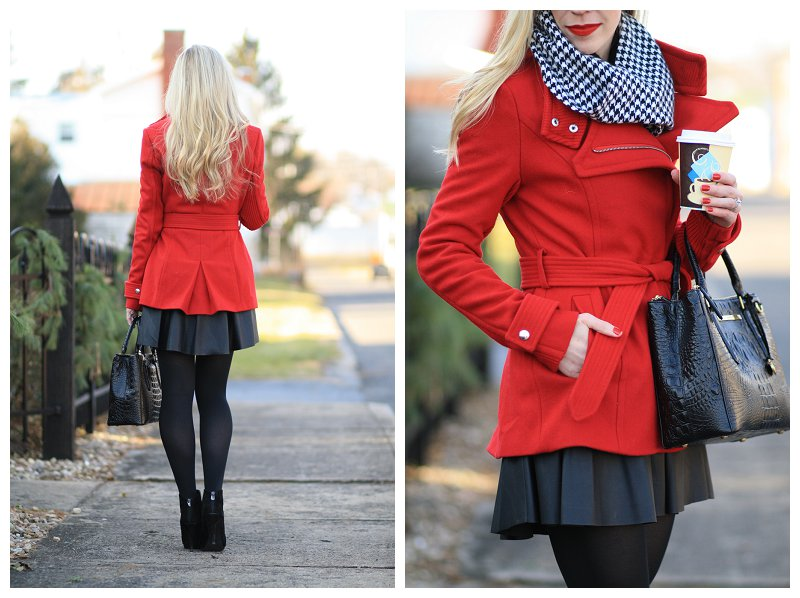 black and white houndstooth scarf, bright red wrap coat, Brahmin small lincoln satchel black melbourne, black leather skater skirt, tights and ankle booties, festive winter outfit, holiday look
