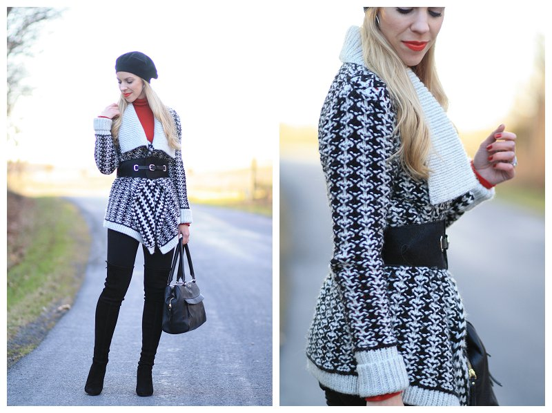 f625d7158b6 black and white nordic pattern sweater cardigan