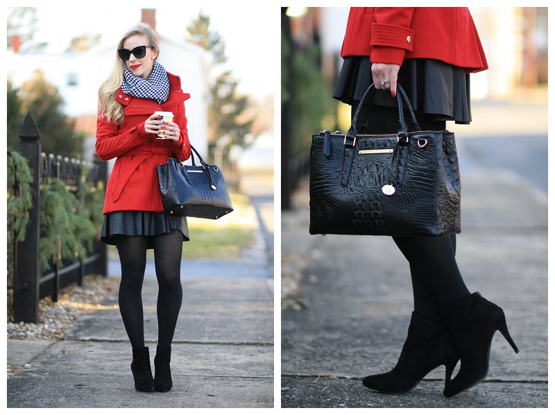 black faux leather skater skirt, tights and Tahari ankle booties, Brahmin small lincoln satchel black melbourne, bright red wrap coat, houndstooth scarf with red coat, holiday outfit, winter outfit with black, white and red