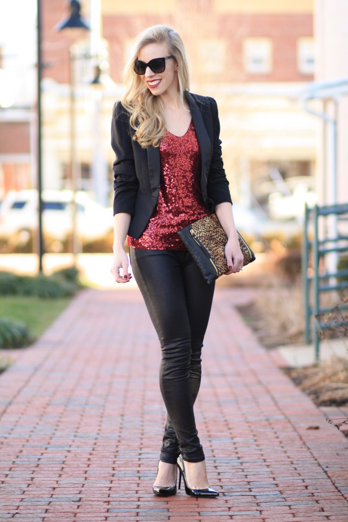 cb9cc9309391 black tuxedo blazer, red sequin tank top, 7 for all mankind black leather  jeans ...