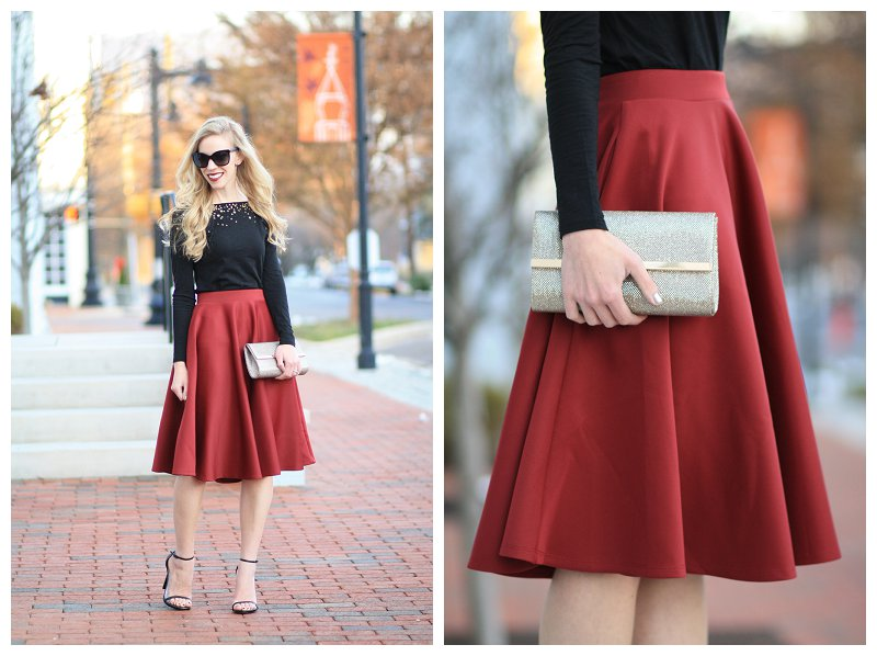 burgundy full midi skirt, sparkly gold clutch, LOFT sequin tee, Stuart Weitzman Nudist black leather stilettos, ankle strap sandals, holiday outfit, holiday fashion, black and red holiday style