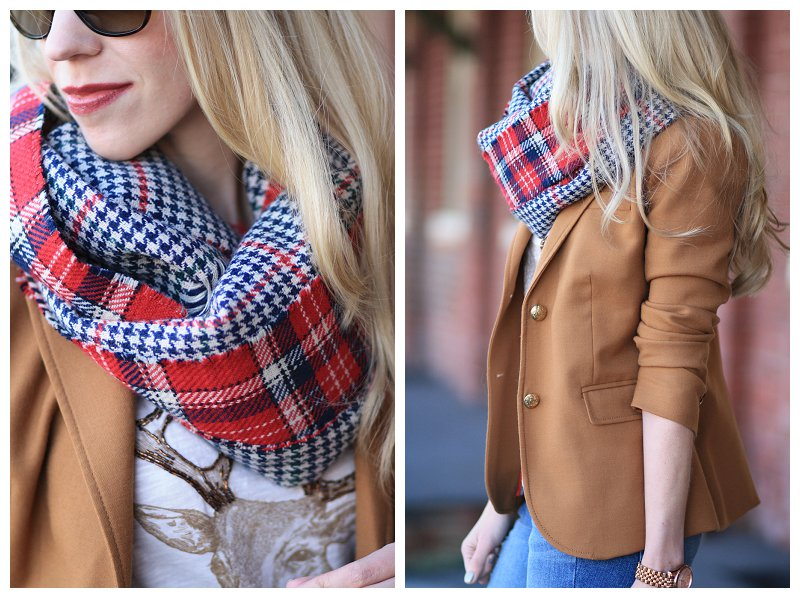 oversized red plaid reversible scarf, deer with antlers shirt, J. Crew camel schoolboy blazer, holiday outfit, holiday plaid style scarf