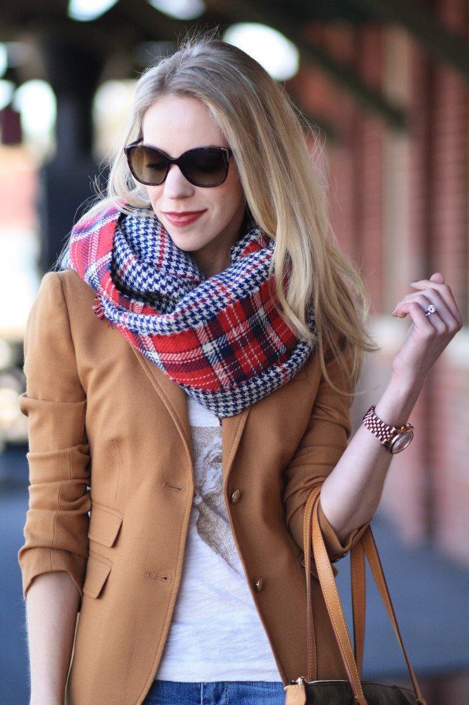 oversized red plaid scarf, J. Crew camel schoolboy blazer, classic style, holiday style, deer antlers t shirt, Prada tortoiseshell sunglasses