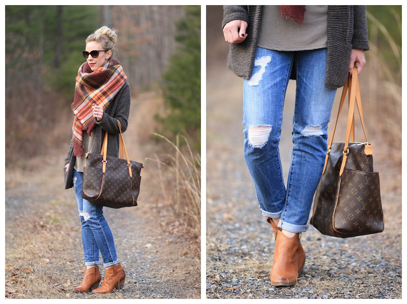 AG Adriano Goldschmied stilt cigarette distressed denim, Frye 'Reina' camel leather western ankle boot, Louis Vuitton totally MM monogram tote, Zara plaid blanket scarf, oversized layers, long cardigan