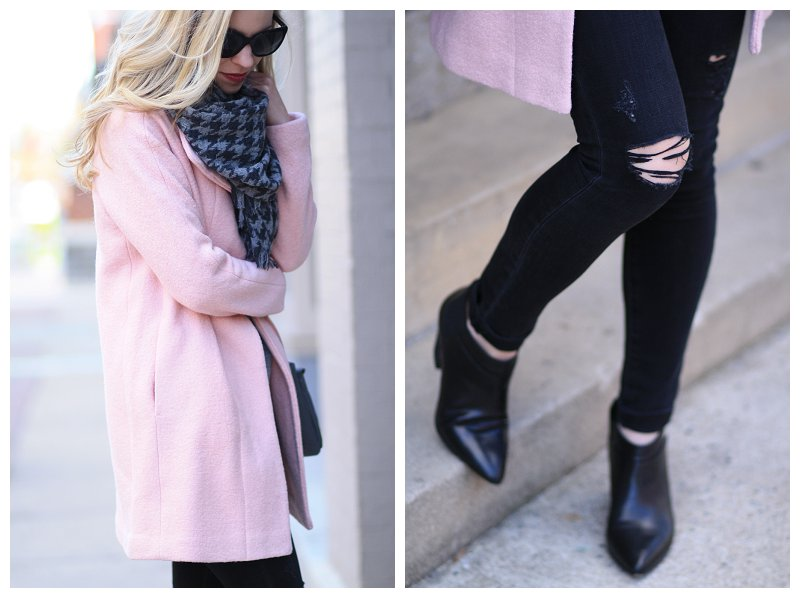 Adriano Goldschmied middi ankle nightfall, black distressed skinny jeans, Express blush pink cocoon coat, Belle Sigerson Morrison black Yulene ankle boot, J. Crew gray houndstooth scarf, blush pink and black