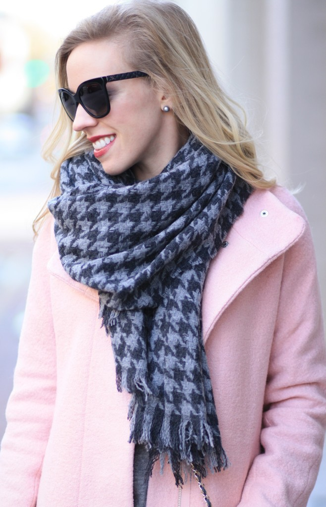 Chanel butterfly sunglasses quilted leather trim, J. Crew gray houndstooth oversized scarf, Express blush pink cocoon coat, pastel winter coat, gray and pink winter outfit