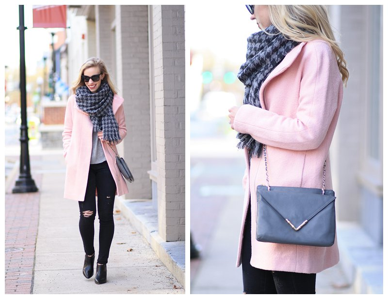 Elaine Turner Bailey gray envelope crossbody bag, J. Crew gray houndstooth scarf, Adriano Goldschmied middi ankle black distressed denim, Express blush pink cocoon coat, pink and black and gray outfit, pointy ankle boots