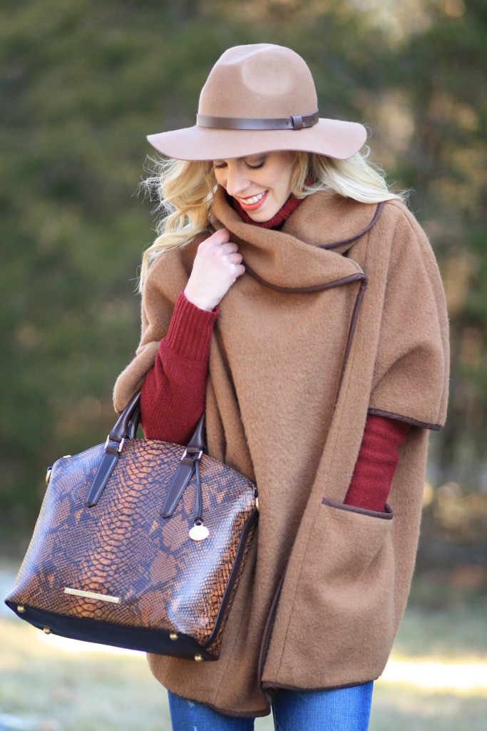 Conquest Camel Wool Cape Burgundy Knit Turtleneck Amp Neutral Details Meagan S Moda