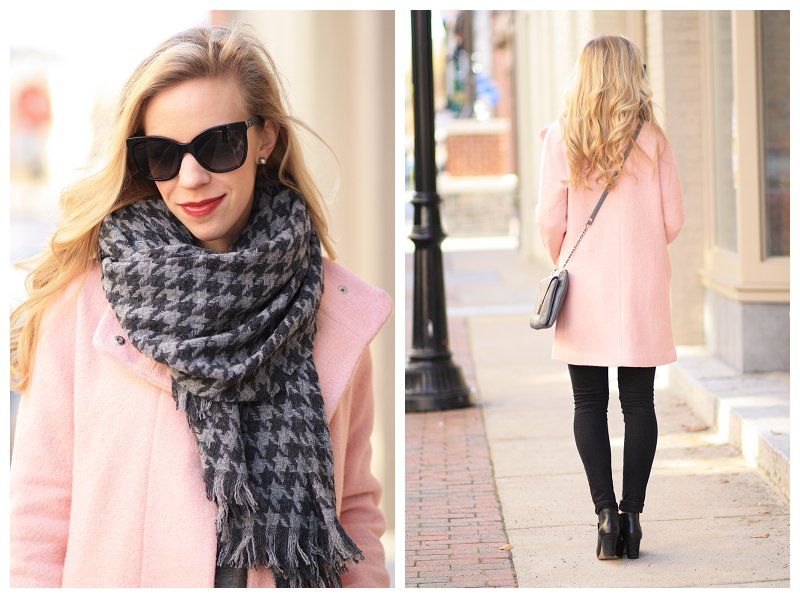 J. Crew gray houndstooth oversized scarf, Chanel black cateye butterfly sunglasses, Express blush pink cocoon coat, black skinny jeans, blush pink and gray, pastel winter coat