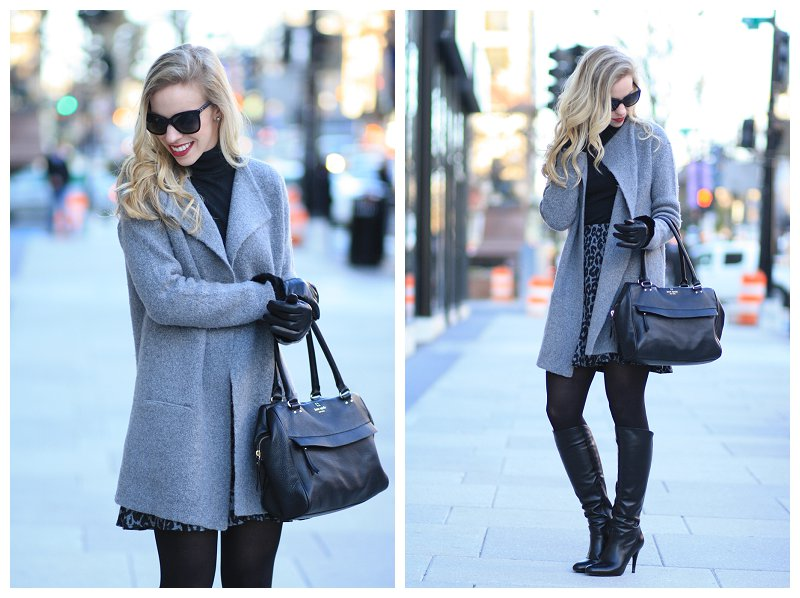 Loft Gray Sweater Coatigan Sweater Coat Over Black Turtleneck Ann