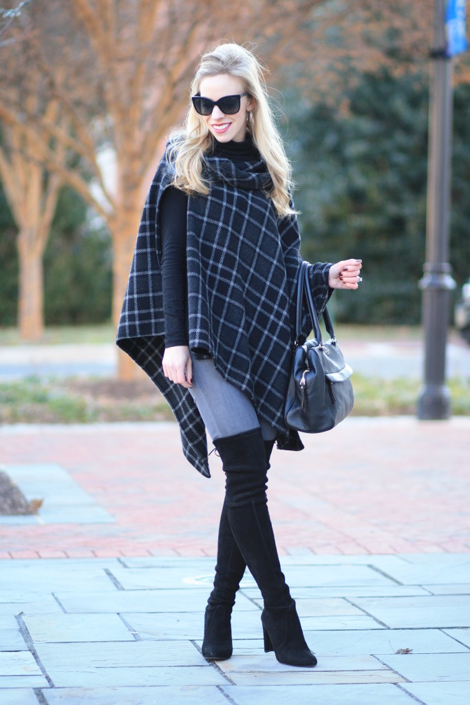 Winter Plaid Buckle Poncho Gray Denim Amp Thigh High