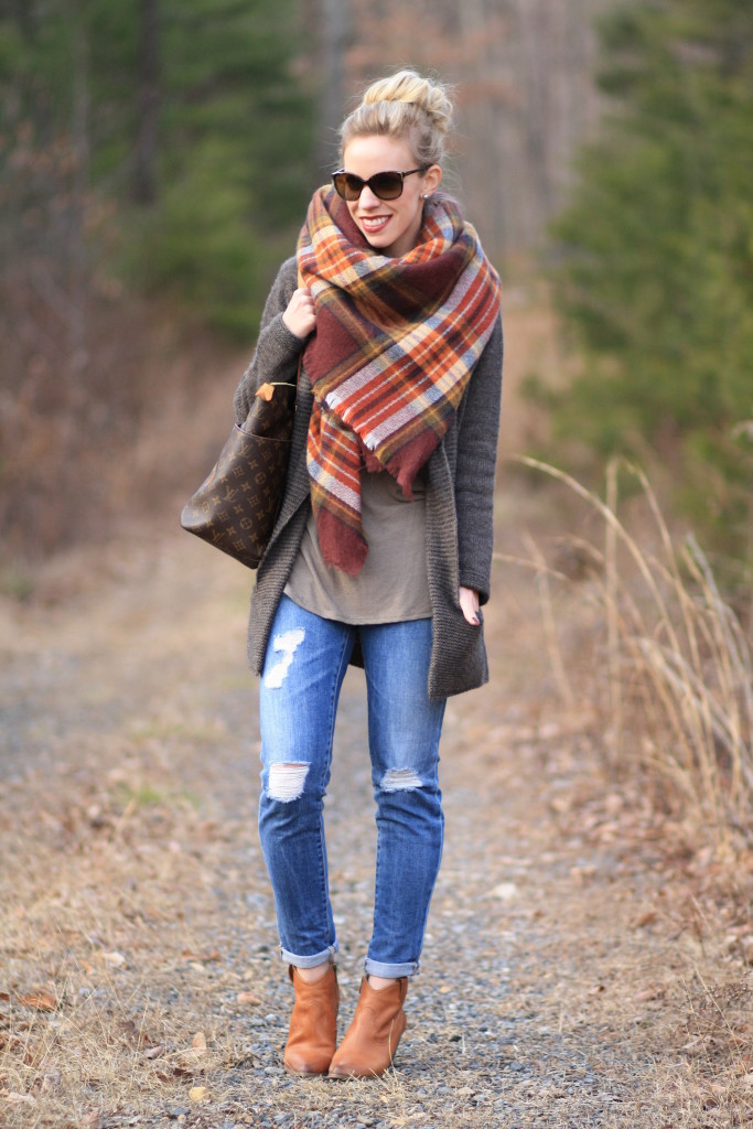 Zara brown plaid blanket scarf, oversized cardigan sweater, AG Adriano Goldschmied distressed cigarette jean, Frye camel leather 'Reina' ankle boots, Louis Vuitton Totally MM tote, how to wear blanket scarf