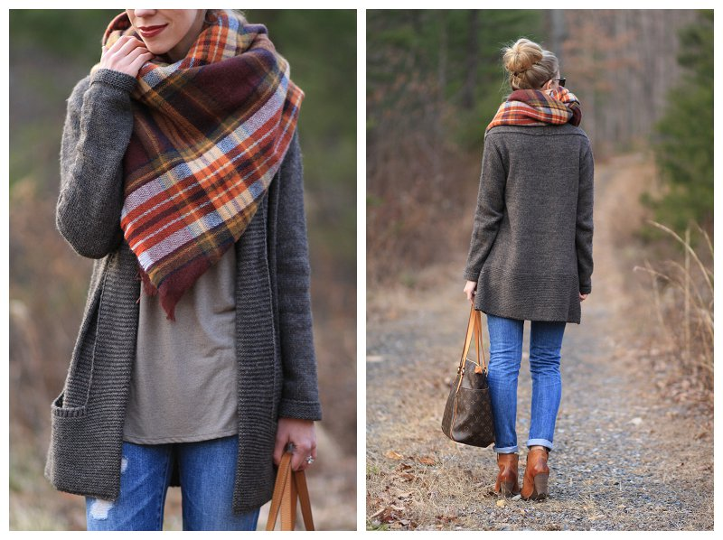 Zara brown red plaid blanket scarf, how to tie a blanket scarf, AG Adriano Goldschmied distressed denim, oversized cardigan sweater with scarf and distressed denim, Frye 'Reina' western ankle boots, Louis Vuitton tote