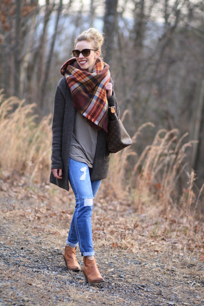 Zara oversized plaid blanket scarf, long cardigan sweater, AG Adriano Goldschmied distressed cuffed denim, Frye 'Reina' camel ankle boot, Louis Vuitton totally MM tote, how to wear a blanket scarf
