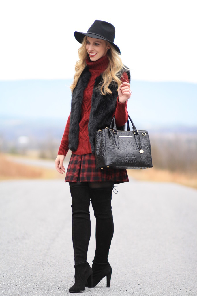 { Burgundy Plaid: Faux fur vest, Cable knit turtleneck ...