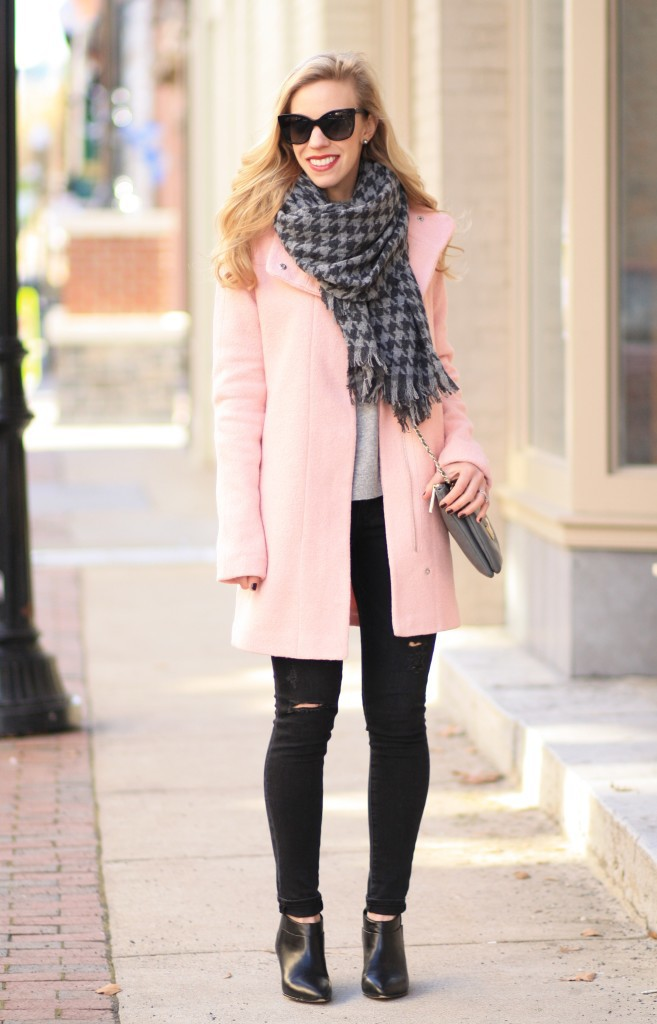 blush pink coat, pastel winter coat, pastel cocoon coat, J. Crew gray houndstooth scarf, Adriano Goldschmied middi ankle black distressed denim, pink and gray winter outfit, belle sigerson morrison yulene bootie