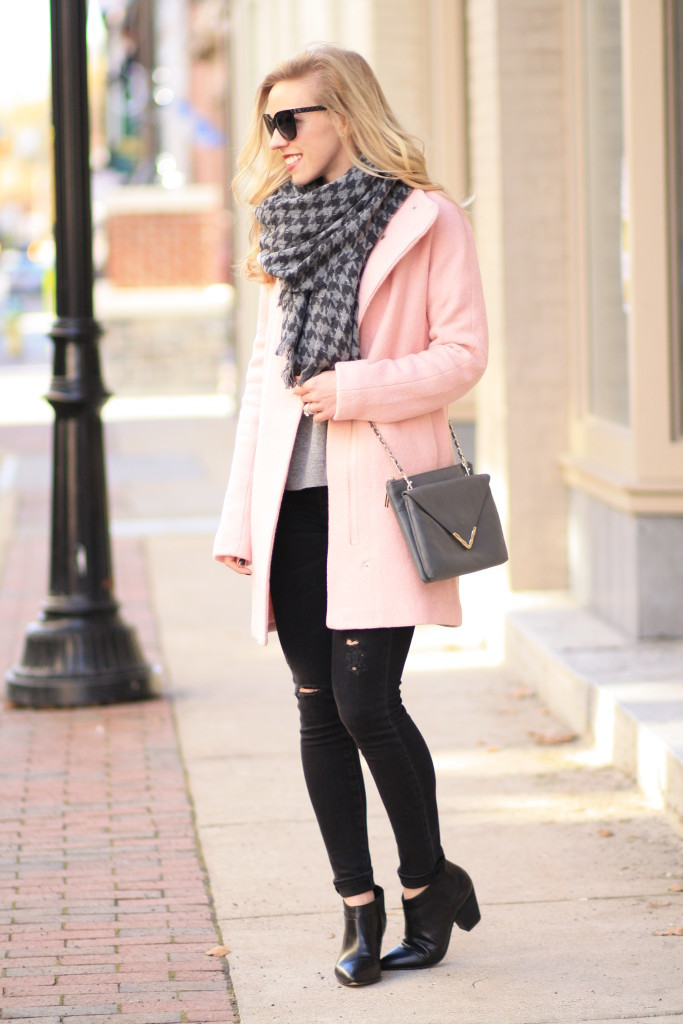 blush pink cocoon coat, pastel winter coat, J. Crew gray houndstooth scarf, Adriano Goldschmied black middi ankle distressed denim, Belle Sigerson Morrison black Yulene ankle boot, gray envelope clutch crossbody bag