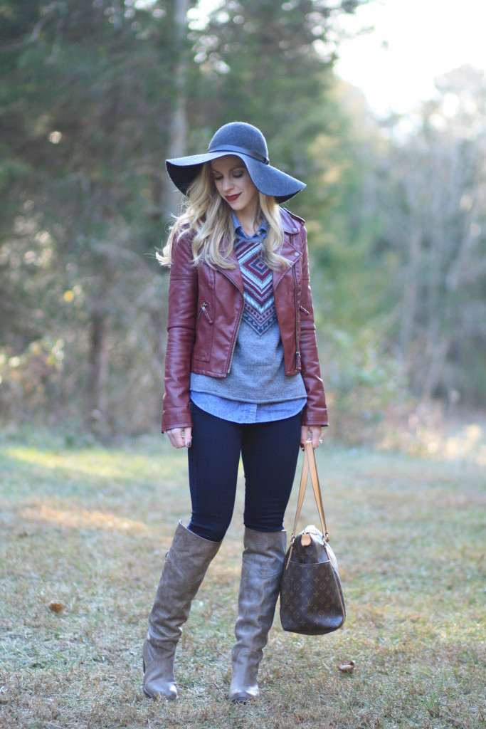 Layered Leather Burgundy Moto Jacket Fair Isle Sweater