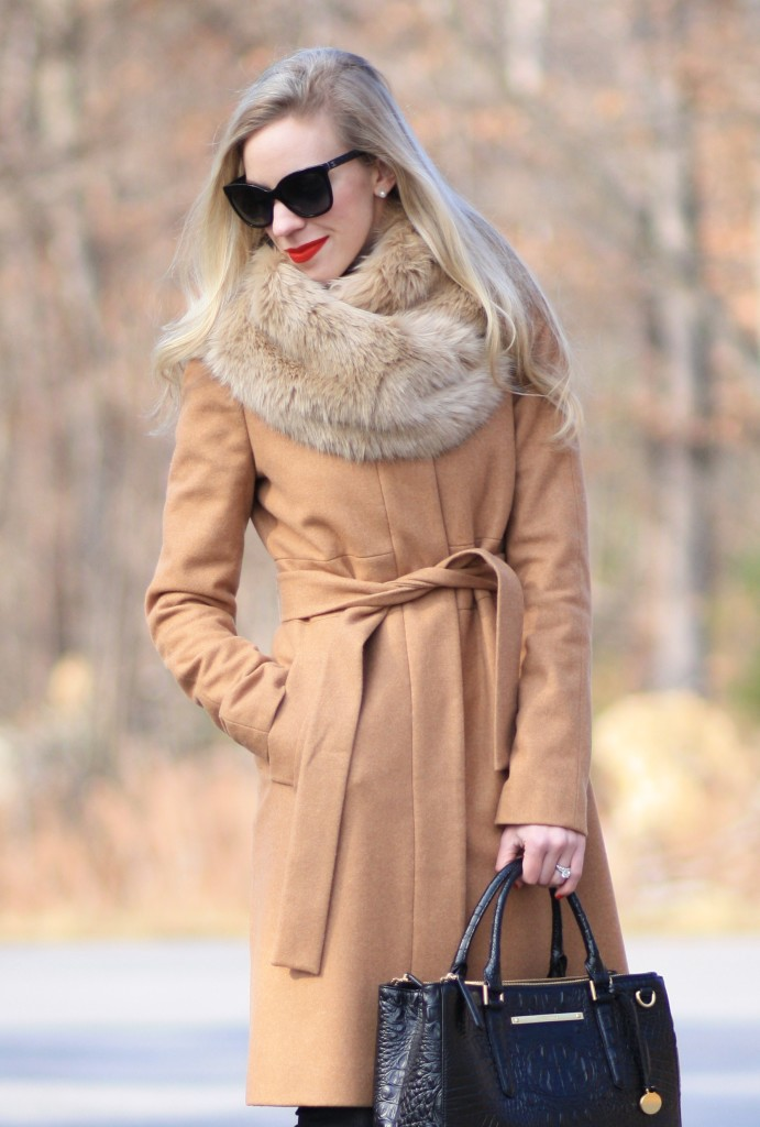 Moda A Roma Camel Wrap Coat Faux Fur Snood Amp Leopard Pumps Meagan S Moda