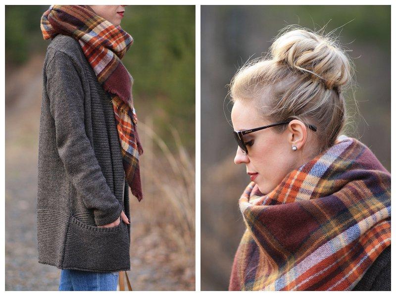 faux sock bun, Zara brown plaid blanket scarf, oversized long cardigan sweater, Prada tortoiseshell sunglasses, how to tie blanket scarf