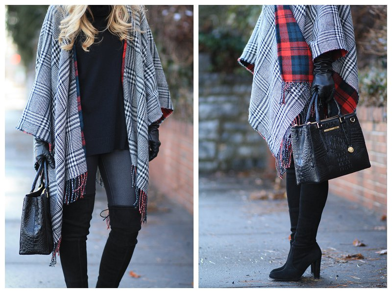 reversible plaid ruana, cashmere turtleneck tunic, Brahmin small lincoln satchel black melbourne, 7 for all mankind leather like skinny jean, Stuart Weitzman Highland thigh high suede boot, red plaid poncho