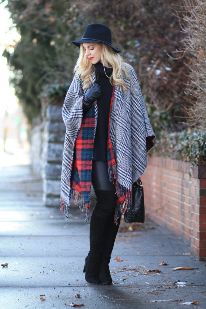 reversible plaid ruana, red plaid poncho, Brixton wesley black fedora, 7 for all mankind black leather skinny, Brahmin black small lincoln satchel, Stuart Weitzman black suede highland boot, thigh high boots with pants